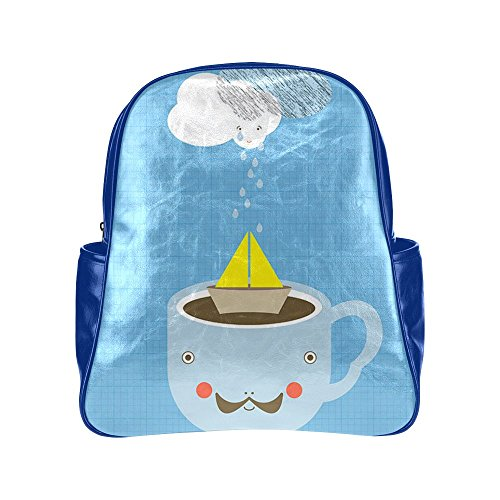 HuaT Unisex Storm in Teacup Blue Multi Pocket Backpack Schoolbag