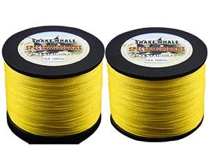 Shake Whale 100-Percent PE Good Quality Briad Fishing Line 50LB 3000Yards Yellow 1Pcs... by Shake Whale