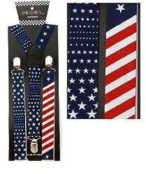 US Flag print Suspenders