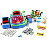 Pretend Play Electronic Cash Register Toy Realistic Actions & Sounds (Green)