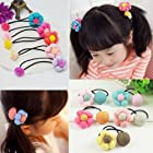 4pcs, Baby Child Fabric Button Flower Headband Hair Rope Rubber Band Hair Accessory