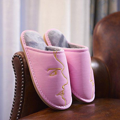 ZHLONG Mesdames chausson thermique occasionnels antidérapante et imperméable à l'eau synthétique PU pantoufle