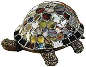 Dale Tiffany Lamps Dale Tiffany 7908/816A Blue Turtle Accent Lamp, Antique Bronze and Art Glass Shade