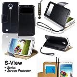 SAVFY® 3en1 Luxe Housse Etui Galaxy S4 Flip Cover S-View PU Cuir Portefeuille + FILM D'ECRAN + STYLET OFFERTS! Lot Accessoires Pochette de Protection Coque Case Pour Samsung Galaxy S4 GT-i9500 i9505 - Noir