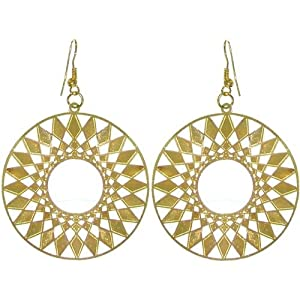 "1 7/8"" Lightweight Filigree Sun Earrings In Gold"