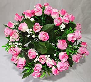 Luscious Artificial Silk Pink Rose bush - 60 Heads with Gyp - Wedding Grave Home Decoration