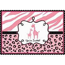 Sweet Safari Girl Baby Shower Postcard Invitations Value Pack (20)