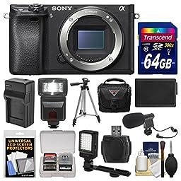 Sony Alpha A6300 4K Wi-Fi Digital Camera Body with 64GB Card + Case + Flash + LED Video Light + Mic + Battery & Charger + Tripod + Kit