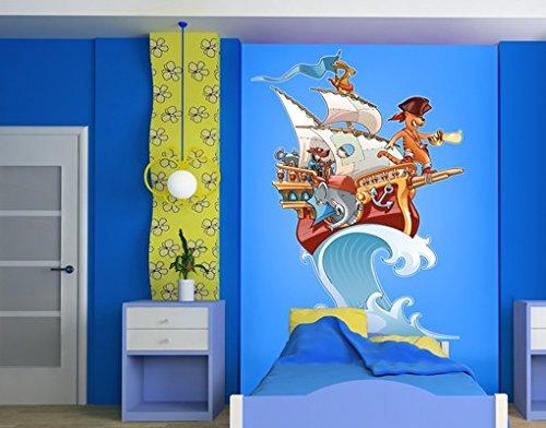 Wandtattoo Piratenschiff Fliegender Bauernhof Kinderzimmer Märchen Wellen, Größe:135cm x 100cm günstig