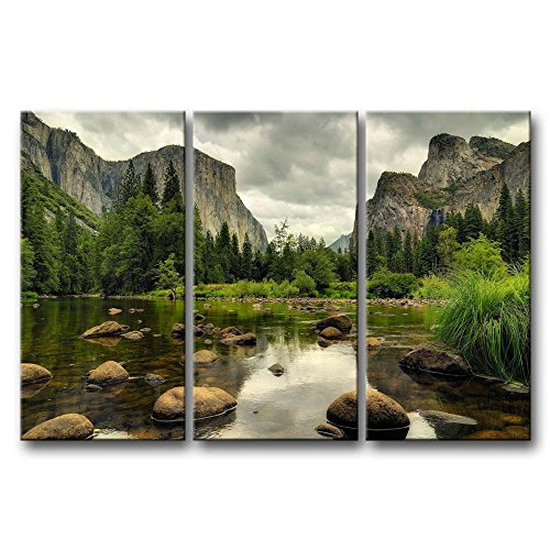 3 Pieces Green Wall Art Painting Yosemite National Park Clear Water Lake Mountain Trees Rocks Pictures Prints On Canvas Landscape The Picture Decor Oil For Home Modern Decoration Print For Items (Yosemite Picture compare prices)