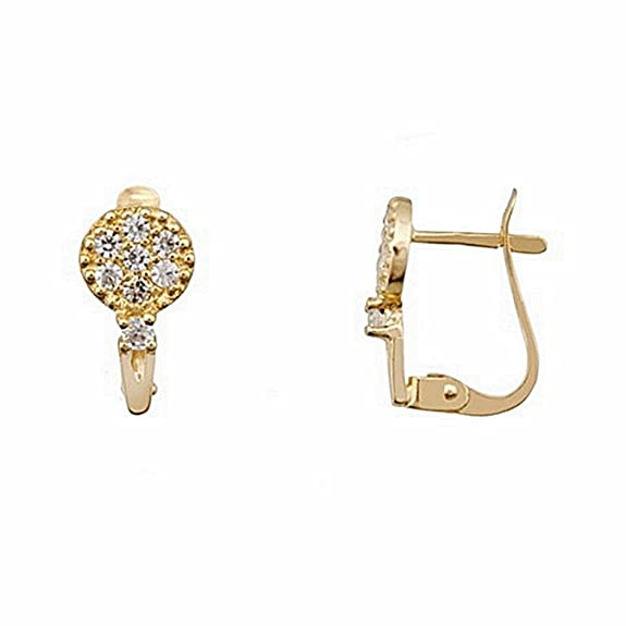18k gold earrings round zircons Catalan stick [6624P]