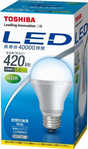 東芝 E-CORE(イー・コア) LED電球 一般電球形 5.6W(密閉器具対応・フィンレス構造・E26口金・白熱電球30W相当・420ルーメン・昼白色) LDA6N/3