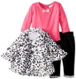 Little Lass Baby-Girls Newborn 3 Piece Animal Printed Faux Fur Jacket Set