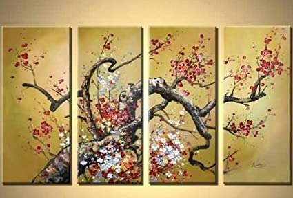 100% Hand Painted Art 4 Piece Wall Art Flower Abstract Oil Painting ...