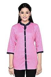 Leafit Women's Shirt (Lf2802498_Dark_Pink_Large) (Large, Pink)