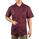 Embroidered cotton blend guayabera color dark burgundy.
