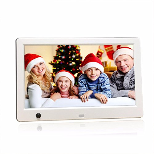 Fenleo 10 Inch HD Ultra-thin Digital Photo Frame with Motion Sensor MP3 Video Player (White)