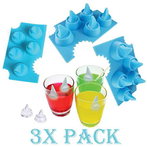3 X Pack Shark Fin Ice Cube Chocolate Soap Tray Mold Silicone Party Maker (SHIPS FROM USA) (Ice Cube Shark compare prices)