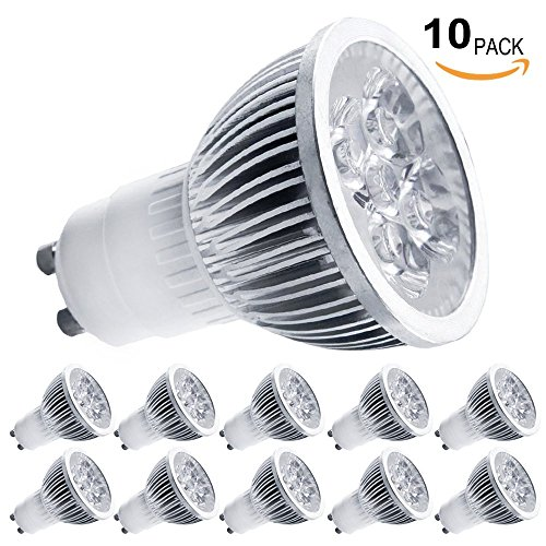 Torchstar Lot Of 10 Ac85-265V 4W Gu10 Led Bulbs - 3200K Warm White Led Spotlight - 50Watt Equivalent - 330 Lumen 45 Degree Beam Angle