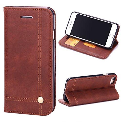 COOLOO iPhone7 plus ケース 手帳型 カバー 高級PUレザー icカード収納・耐衝撃・横置きスタンド機能付き マグネット式 アイフォン7 plus 対応(iphone7 plus ブラワン)