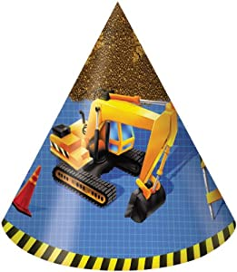 Creative Converting Under Construction Birthday Party Hats, Child Size, 8 Count by Creative Converting