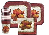 Thanksgiving Disposable Dinnerware Set For Your Holiday Party - Pumpkin Fall Harvest - Dinner Plates, Dessert Plates, Cups & Napkins (Serves 10)