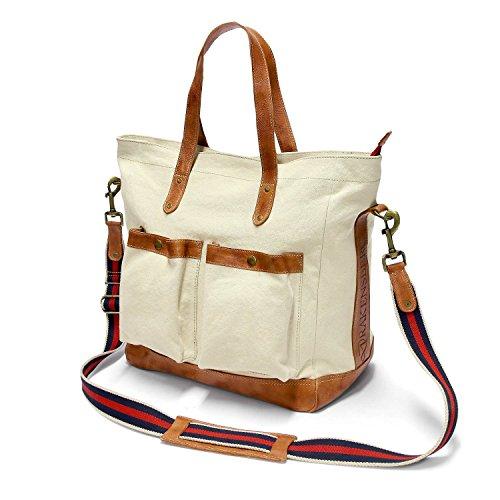 DRAKENSBERG Eastport Premium Tote, tote da viaggio, borsetta, borsa da donna, borsa shopping, tela, canvas, pelle, vintage, preppy, vela, lussuosamente, bianco sporco, marrone, cognac