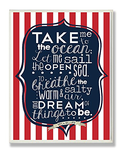 The Kids Room by Stupell Take me to the Ocean with Red and White Stripes Rectangle Wall Plaque