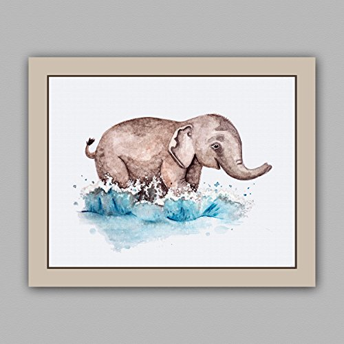 "Painted Baby Safari Animals Art Prints. Home/Nursery Decor (8""X10"", Elephant)"