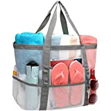 Mesh Beach Bag, iSPECLE Large Beach Bag 9 Pockets Toys Tote Towels Lightweight Beach Bags and Totes for Women Beach Market Family Picnic With Waterproof Inside Zipped Pockets for iPad