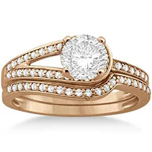 love knot diamond engagement ring set 18k