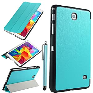 Tab 4 8.0 Case, Samsung Tab 4 8 inch case, ULAK Slim Stand Case for Samsung Galaxy Tab 4 8.0 inch Tablet SM-T330 w/ Auto Sleep Wake Function (Not fit tab 3 8.0) Stylus Screen Protector (Light Blue)