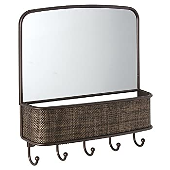 InterDesign Twillo Mirror with Mail Holder and Key Rack Organizer for Hallway, Kitchen or Entryway, Bronze
