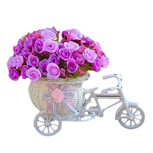 """Artificiali Mazzo, Ouneed® Home Furnishing Decorativo Galleggianti Biciclette Intrecciare Cestini Simulazione Set Diamante Rosa Fiori,High about 20cm/7.87"""",Diameter is about 18cm/7.10"""",Violaa"""