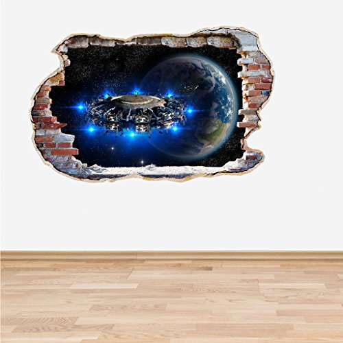 Alien UFO Smashed Wall 3D Effect Wall Decal
