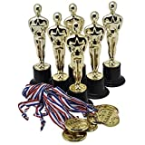 Prextex Gold 6 Award Trophies (12 Pack) With 12 Gold Winner Medals For Ceremonies Or Parties