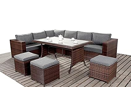 Modern Large Rattan Garden Table Corner Sofa, 3 Modular 2 Seater Sofas With Glass Topped Dining Table And 3 Footstools, Thick Seat Cushions, Garden Furniture Sets, Brown