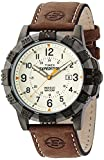 Expedition Men's Quartz Watch with Yellow Dial Analogue Display and Brown Leather Strap T49990