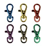 6 Bright Colors Aluminum Lobster Claw Snap Hook Set 1-1/2""
