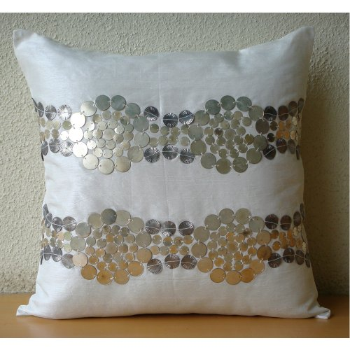 Silver And Gold - 16X16 Inches Square Decorative Throw Ivory Silk Pillow Cover With Antique Sequin Embroidery front-952221