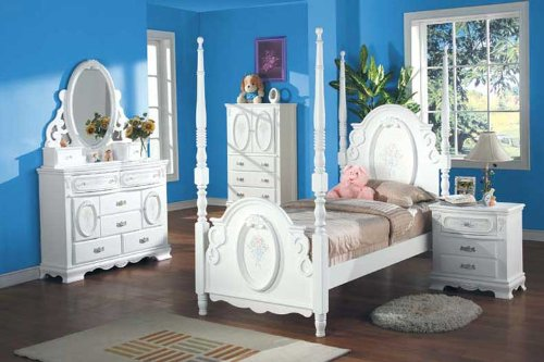Cheap New 4pcs Youth Kid Full Girl Bedroom Set, #A1657F (A1657F)