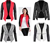 NEW WOMEN LADIES QUILTED PU BLAZER LONG SLEEVE ZIP WATERFALL PVC LOOK JACKET TOPS 8 10 12 14