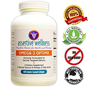 "Omega-3 Optima - 180 Softgels - Best Natural Source of EPA & DHA Fatty Acids - Clinically Formulated for Optimal Delivery - Promotes Healthy Body Functions - Enteric ""Smart"" Coated for 3X Higher Absorption - NO Fishy-Burp - Mercury Free"