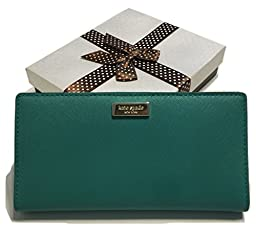 Kate Spade Newbury Lane Stacy Saffiano Leather Clutch Wallet WLRU1601 (Dusty Emerald)