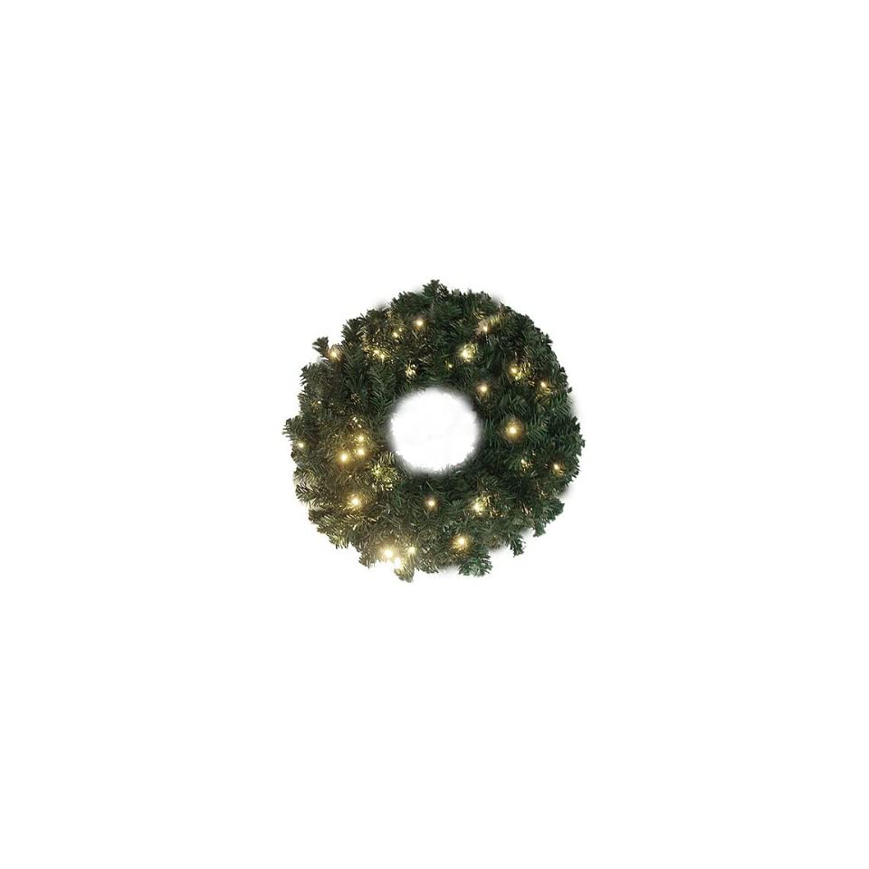 30 Pre Lit Battery Operated LED Lighted Christmas Wreath   Warm Clear Lights