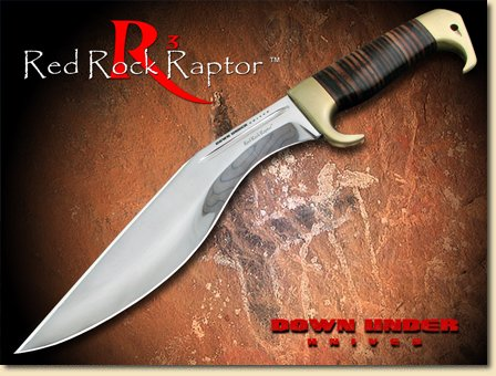 Down Under Knives Red Rock Fixed Blade Knife, 10.25In, Contoured Brown Leather Wrapped Duk-Rrr
