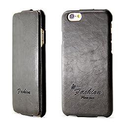 iPhone 6S Case, BELK [Compass] Series Flip Genuine Leather Case - [RUB BUMPER] Vertical Folio Case for iPhone 6 6S, 2015 SEP - Black