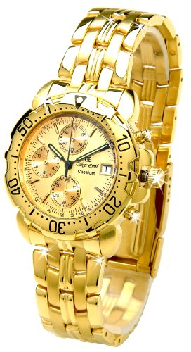 Oskar Emil Caesium 1119G Mens 23ct Gold Plated Chronograph Watch with Gold Dial