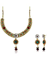 Aheli Traditional Choker Necklace Set For Women (Multi-Colour) (A3N8)