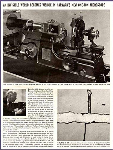 1938 Article - Harvard'S New 6,000 Diameters Microscope Original Paper Ephemera Authentic Vintage Print Magazine Ad / Article
